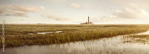 Wiesenlandschaft am Westerhever Leuchtturm Panorama - 224891470