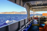 2018 September 18th, Syros ferryboat, Greece. Wind can be extremely strong on the Aegean sea. When is more than 70Km/h also big ferriboats cannot travel. - 224895214