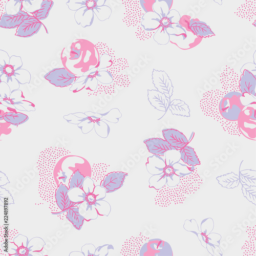 seamless pattern with flowers - 224897892