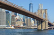 The Brooklyn bridge and New York city Lower Manhattan skyline