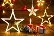 Leinwanddruck Bild - Christmas gift vintage rustic background