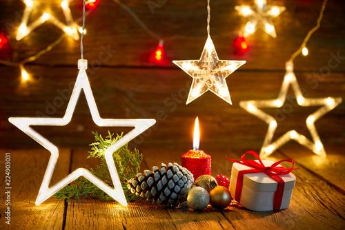 Leinwanddruck Bild Christmas gift vintage rustic background