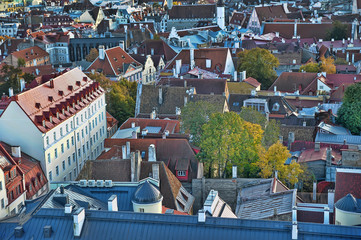 Estonia, Tallinn, 11,10,2014 View of the roofs of the city from above the observation deck