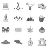 Canada icons set in monochrome style isolated on white background