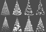 Set of Abstract Christmas Tree - Modern Design Element Illustrations for Your Xmas Project, Vector - 224938679