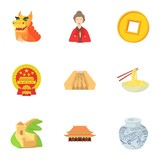 Stay in China icons set. Cartoon illustration of 9 stay in China vector icons for web - 224943648