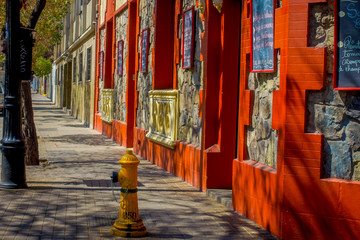 Outdoor view of trees shadows in the Barrio Yungay in Santiago, capital of Chile