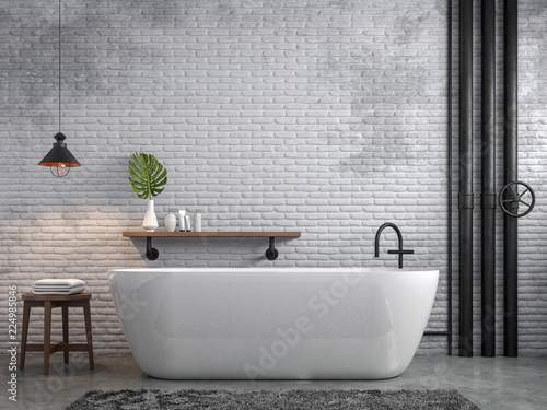 Leinwanddruck Bild Industrial loft style bathroom 3d render,There are white brick wall and polished concrete floor decorate with black steel tube,Furnished wood furniture.