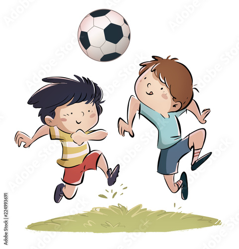Leinwandbild Motiv niños jugando a futbol