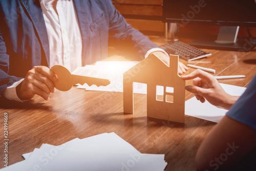 Leinwandbild Motiv Estate agent with customer before contract signature. Real Estate concept.