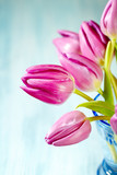 Pink Tulips. Flower background. Wooden background. Close up. Copy space. - 225002289