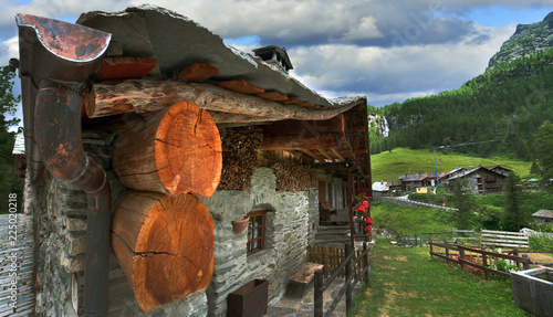 traditional wooden houses of the alpine village