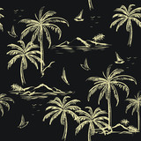 Beautiful seamless island pattern beige line on dark grey background. Landscape with palm trees,beach and ocean vector hand drawn style. - 225025046