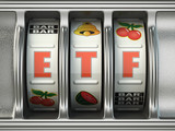 ETF exchange traded fund as jackpot on a slot machine, Successful and profitable investments concept. - 225025048