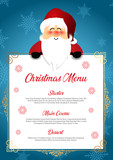 Christmas menu with cute Santa