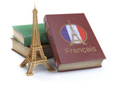 Learn and studiyng French concept. Book with  French flag and Eiffel tower isolated on white. - 225028073