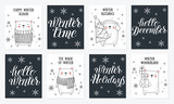 Vector line drawing collection of cute winter bears