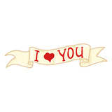 Vector Single Ribbon with Text - I Love You