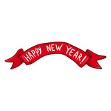 Vector Single Ribbon with Text - Happy New Year