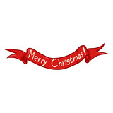 Vector Single Ribbon with Text - Merry Christmas
