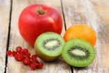 Fresh fruit: kiwi, apple, mandarine and red current - best source of vitamin C