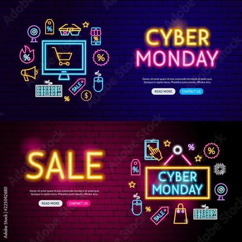 Cyber Monday Neon Website Banners