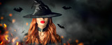 Halloween. Sexy witch portrait. Beautiful young woman in witches hat with long curly red hair - 225046600