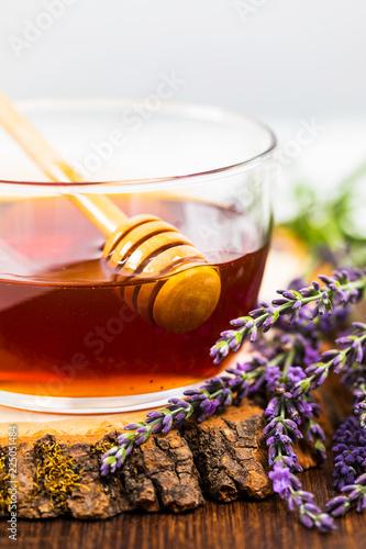 Lavender Herbal Honey with Lavender Flowers. Selective focus. - 225051484