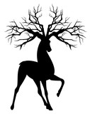 deer stag with tree branches antlers - forest spirit black vector silhouette