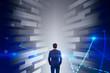 Leinwanddruck Bild - Businessman in diagram tunnel, big data