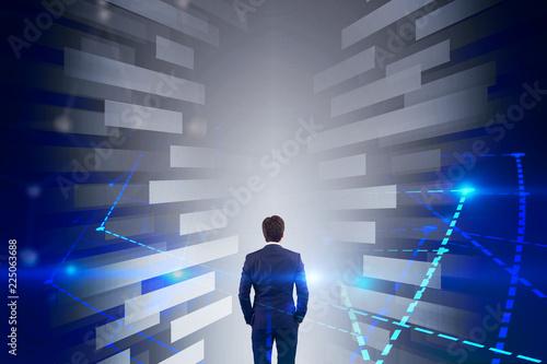 Leinwanddruck Bild Businessman in diagram tunnel, big data