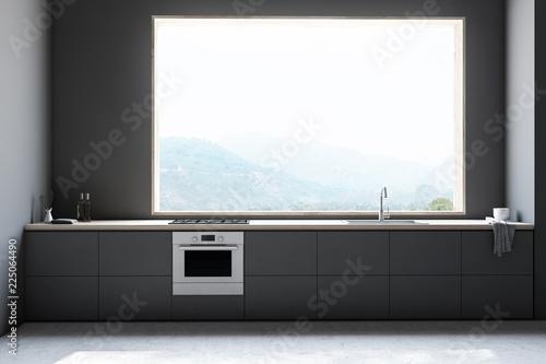 Leinwandbild Motiv Gray kitchen interior with grey countertops