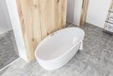 White bathroom interior top view, white tub