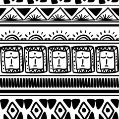 Vector tribal pattern with seamless trendy ethnic maya black and white background. Good for your textile fashion wrapping and print.