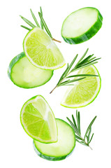 Flying Lime slices with Cucumber slices and rosemary leaves