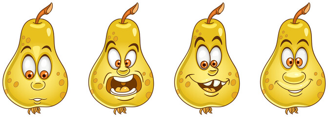 Pear fruit. Food emoji emoticon collection. © Sybirko