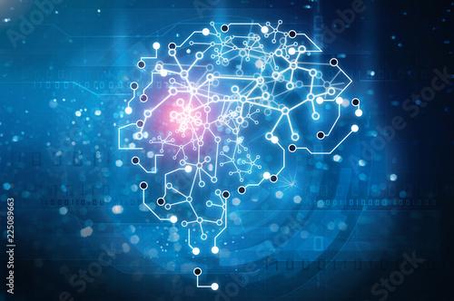 Leinwanddruck Bild artificial intelligence brain