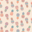 Modern wild abstract pineapple vector pattern on cream colored plain background, seamless repeat. Cool & fresh summer design, suitable for all kind of surfaces and fashion.  - 225090421