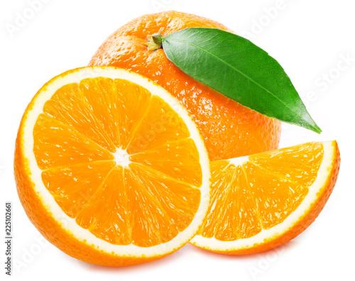 Foto Murales Fresh orange on white background