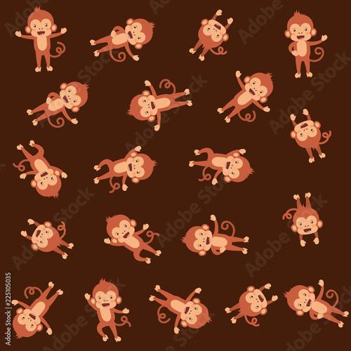 Fototapeta cute monkeys pattern background
