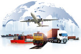 Transportation, import-export and logistics concept, container truck, ship in port and freight cargo plane in transport and import-export commercial logistic, shipping business industry - 225106094