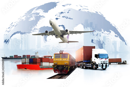 Transportation, import-export and logistics concept, container truck, ship in port and freight cargo plane in transport and import-export commercial logistic, shipping business industry