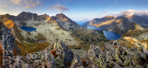 Landcape of mountain at sunset panorama from peak Hladky stit, Slovakia - 225124899
