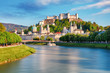 Leinwandbild Motiv Panoramic view of Salzburg skyline with Festung Hohensalzburg and river Salzach, Salzburger Land, Austria