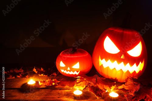 Halloween pumpkin and candles - 225135049