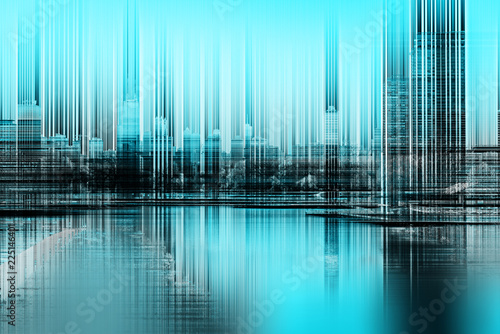 Abstract concept of blurred city skyline - 225146401
