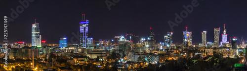 Warsaw skyline by night