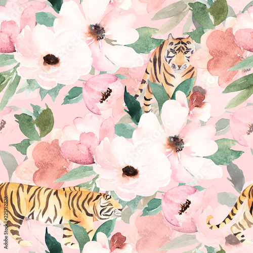Watercolor seamless pattern. Floral print with tiger. © natikka