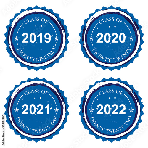 Rubber stamp imprint designs on Class of 2019 2020 2021 2022 in blue on an isolated white background