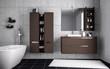 Leinwandbild Motiv Aufgeräumtes Badezimmer mit Betonwand
